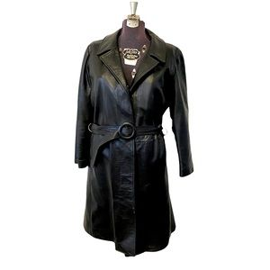 Vintage SCULLY Black Leather Trench Wrap Coat 16